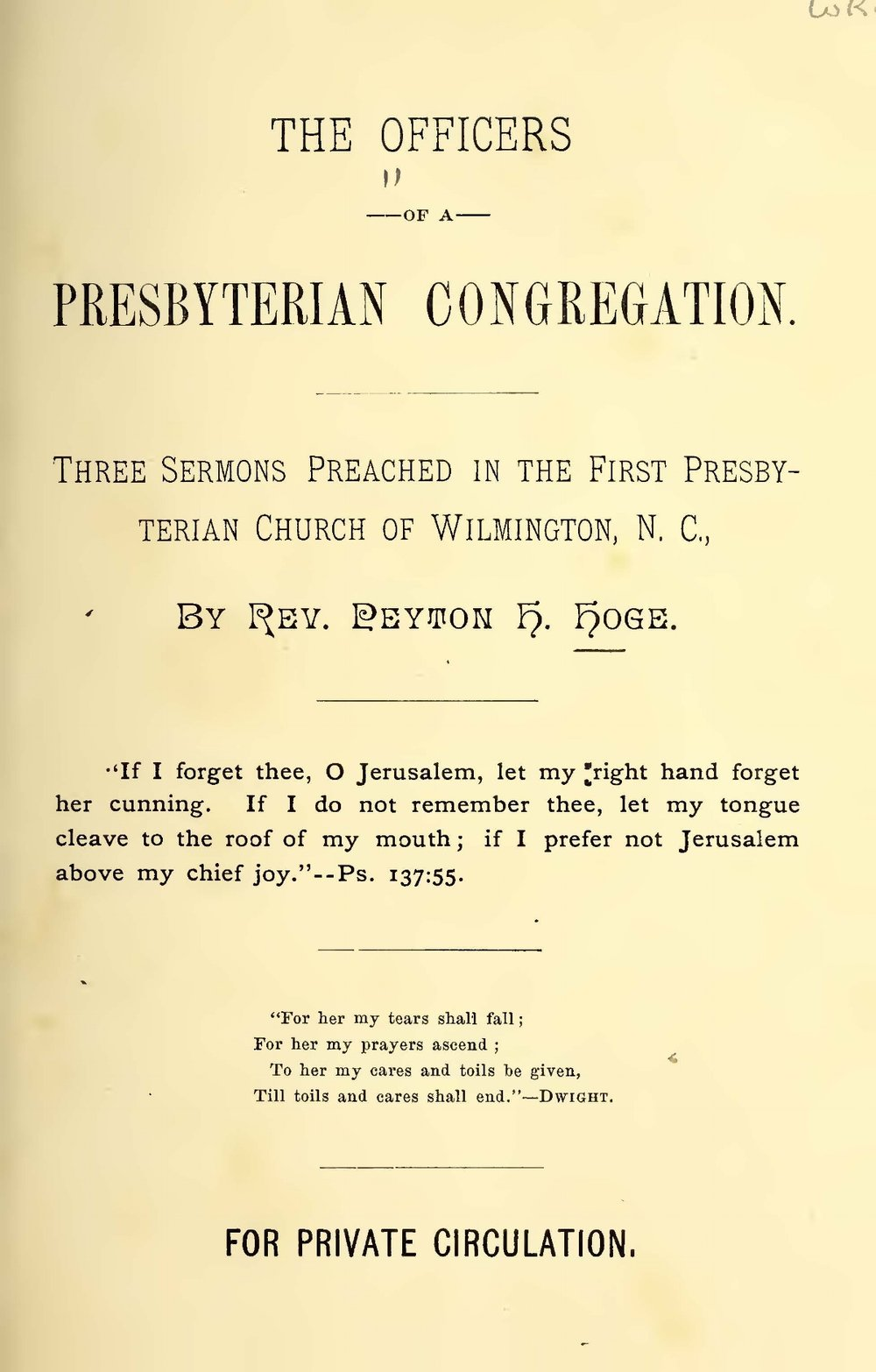 Hoge, Peyton Harrison, The Officers of a Presbyterian Congregation Title Page.jpg
