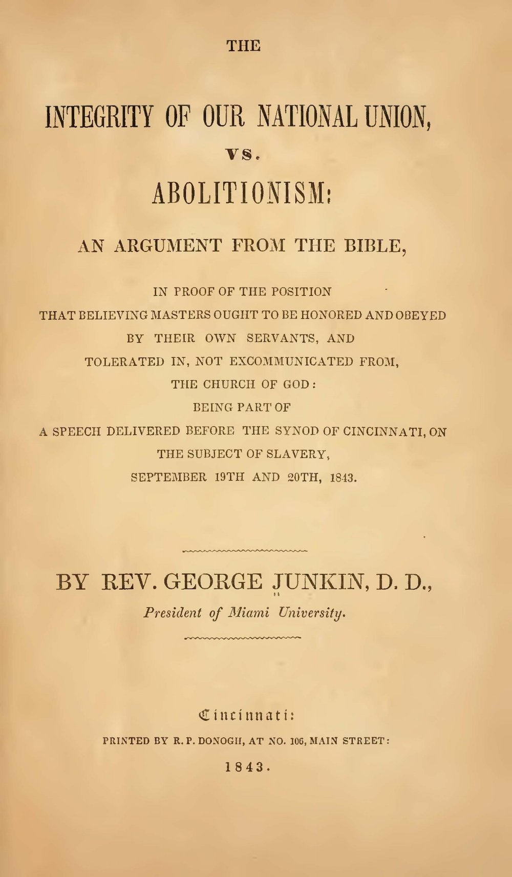Junkin, George, The Integrity of Our National Union vs Abolitionism Title Page.jpg