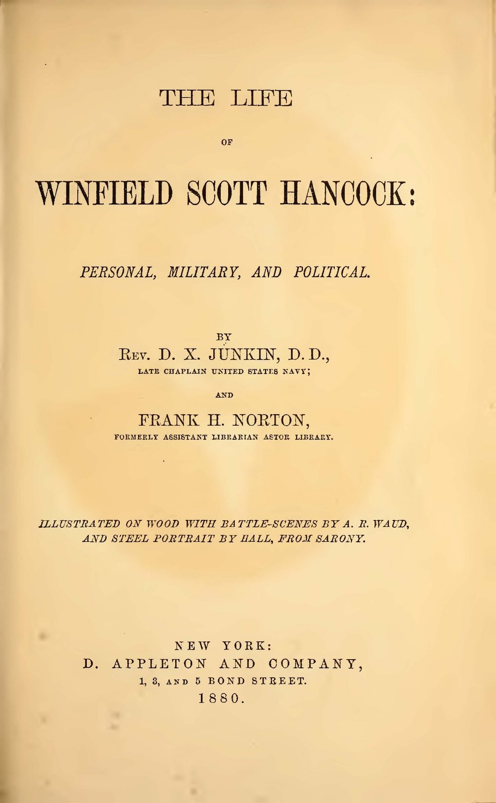 Junkin, David Xavier, The Life of Winfield Scott Hancock Title Page.jpg