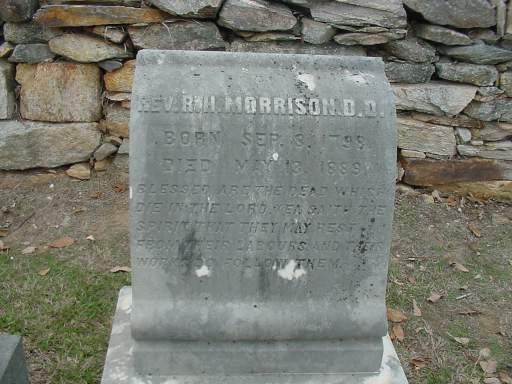 Robert Hall Morrison is buried at Machpelah Presbyterian Church Cemetery, Lincolnton, North Carolina.