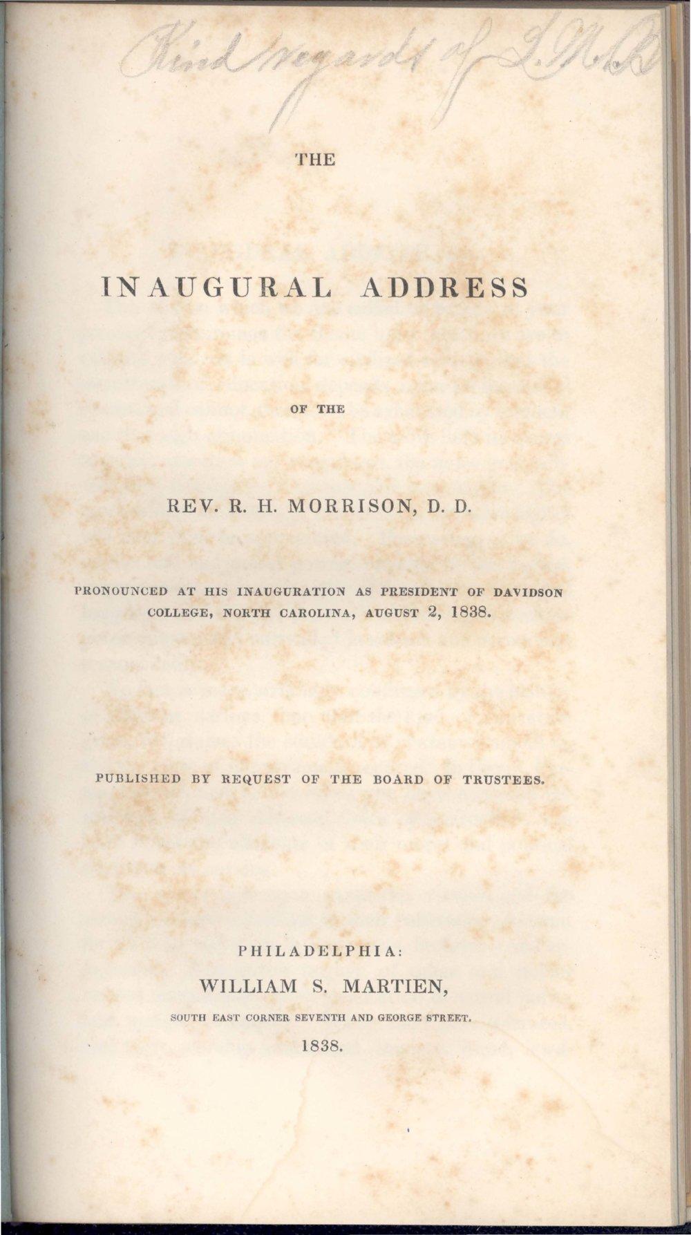 Morrison, Robert Hall, Inaugural Address Title Page.jpg