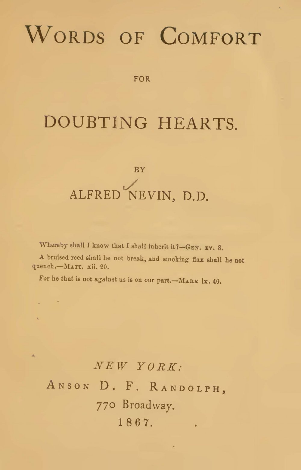 Nevin, Alfred, Words of Comfort for Doubting Hearts Title Page.jpg