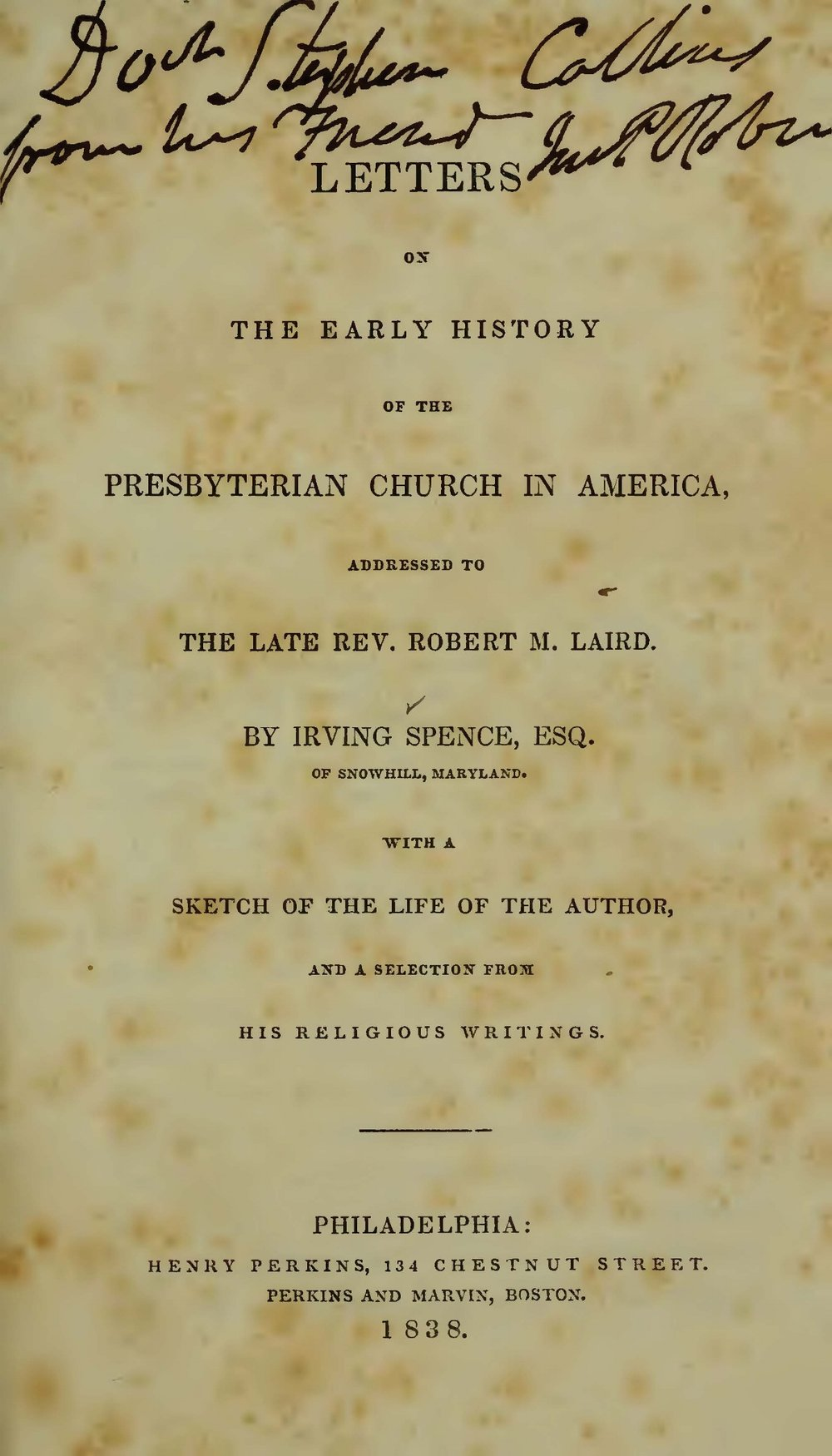 Spence, Irving, Letters on the Early History of the Presbyterian Church in America Title Page.jpg