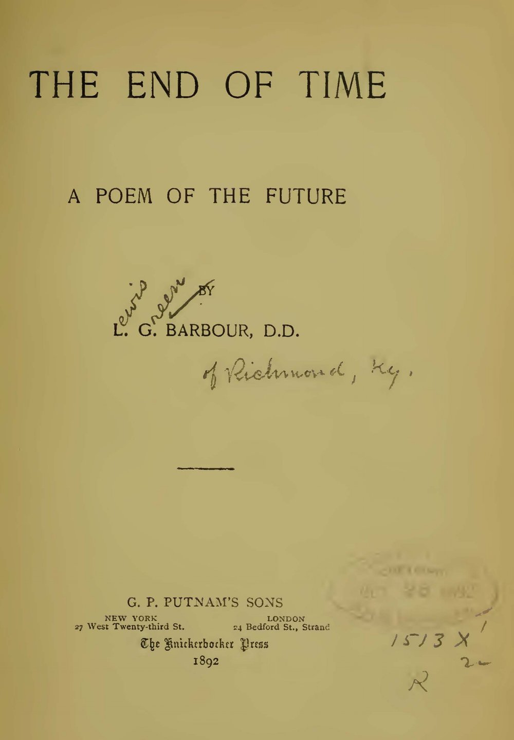Barbour, Lewis Green, The End of Time, a Poem of the Future Title Page.jpg