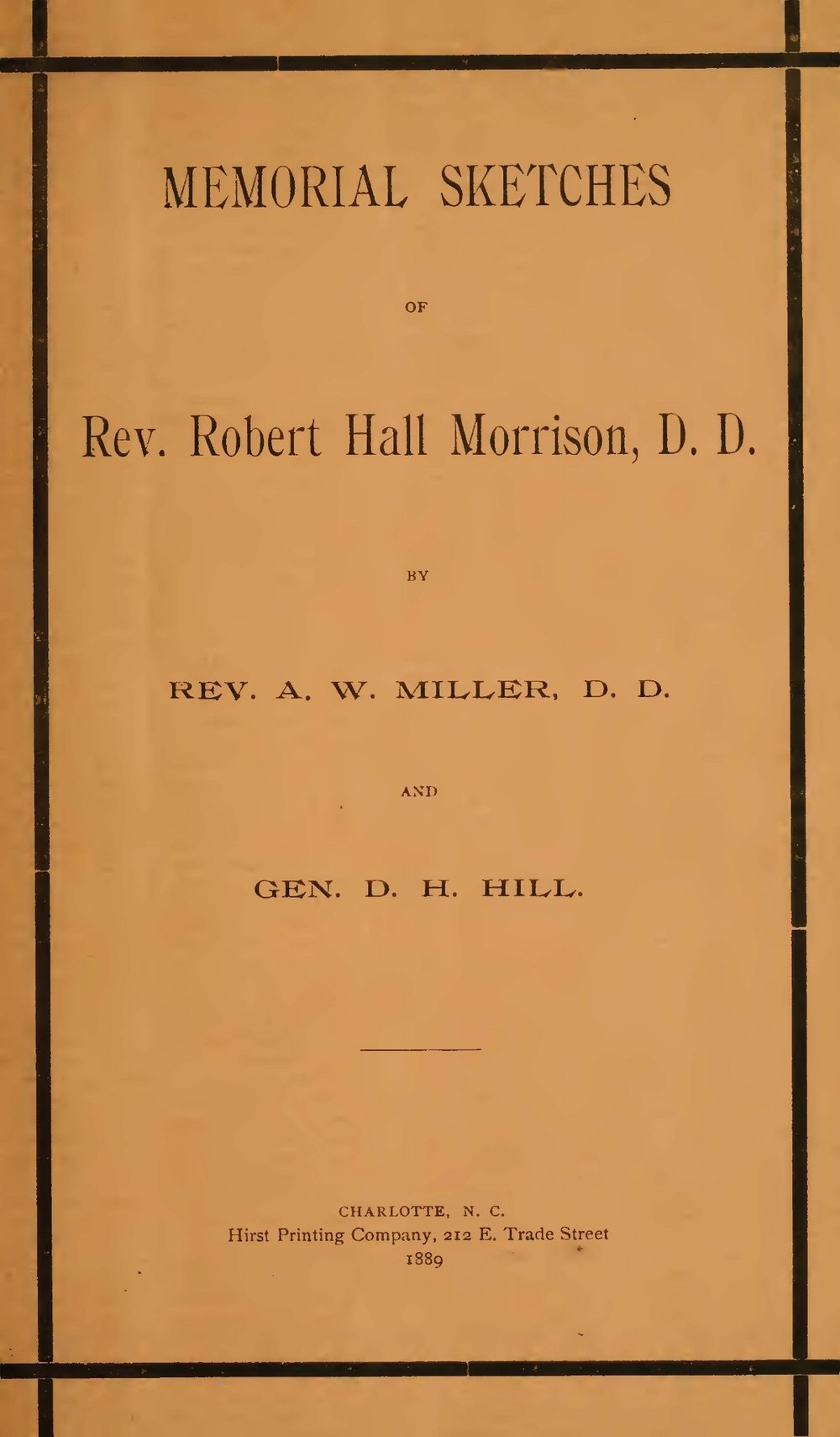 Miller, Arnold W., Memorial Sketches of Rev. Robert Hall Morrison, D.D. Title Page.jpg