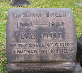 William Speer is buried at Allegheny Cemetery, Pittsburgh, Pennsylvania.