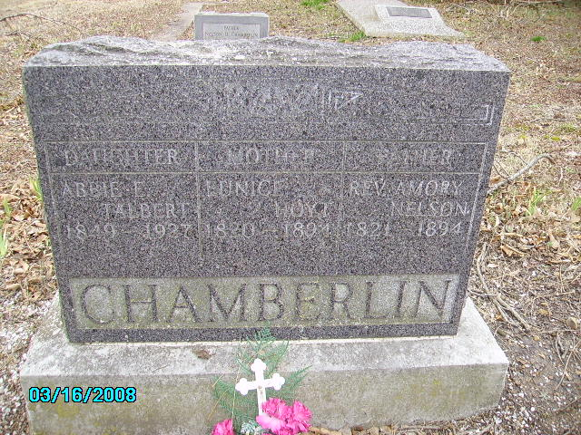 Amory Nelson Chamberlin is buried at Pheasant Hill Cemetery, Vinita, Oklahoma.