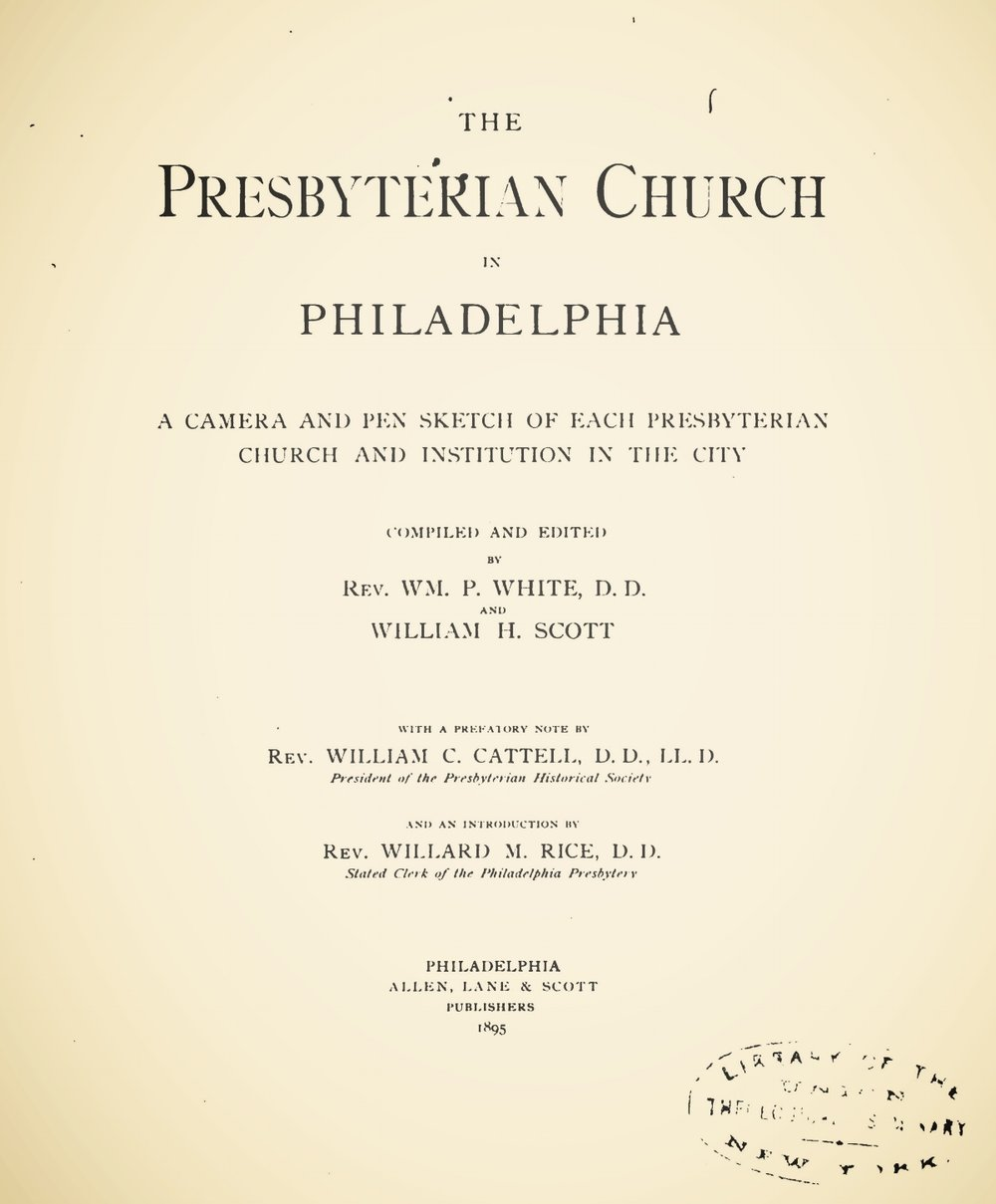 White, William Prescott, The Presbyterian Church in Philadelphia Title Page.jpg