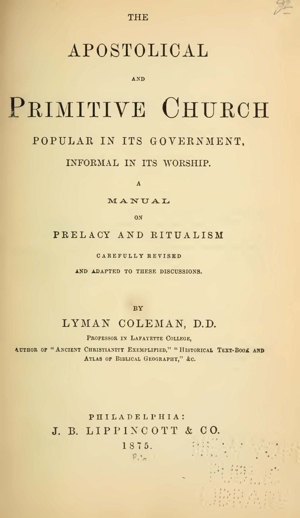 Coleman, Lyman, The Apostolical and Primitive Church Title Page.jpg
