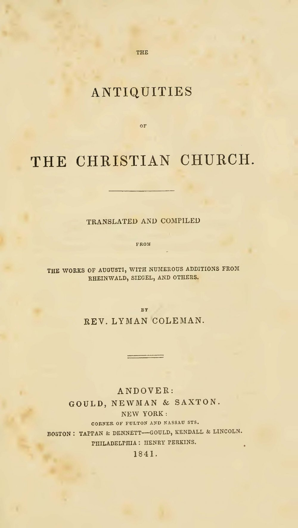 Coleman, Lyman, The Antiquities of the Christian Church Title Page.jpg