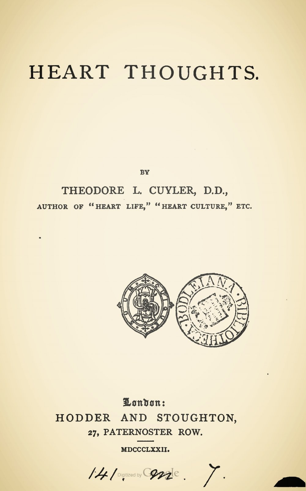 Cuyler, Theodore Ledyard, Heart Thoughts Title Page.jpg