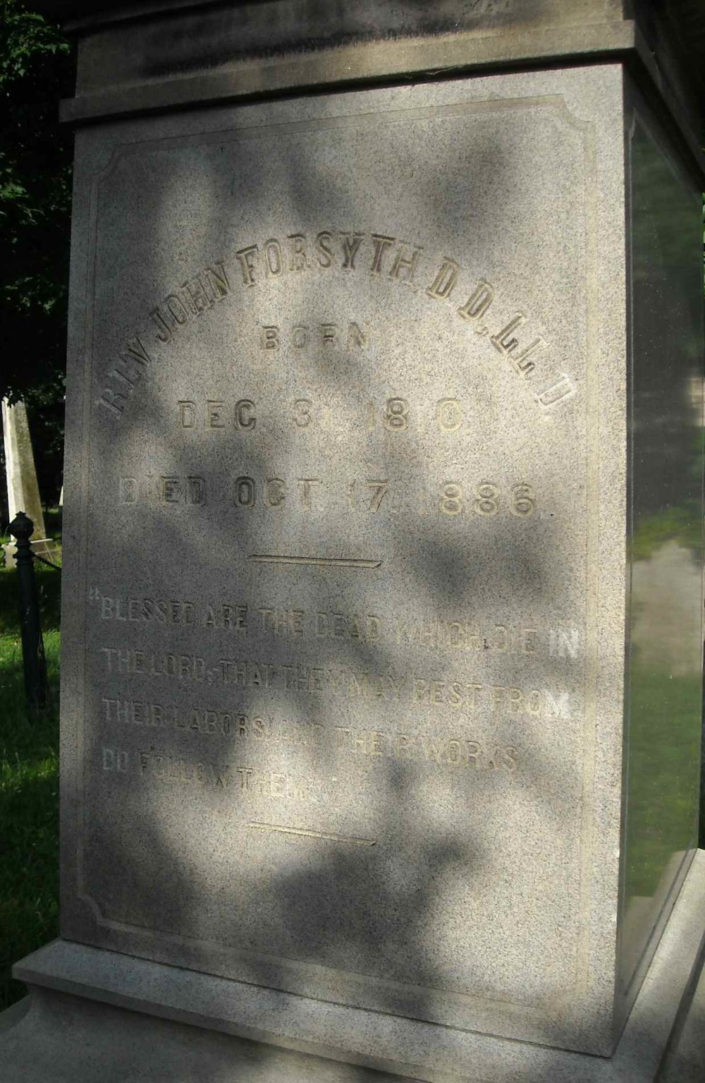 John Forsyth is buried at Old Town Cemetery, Newburgh, New York.