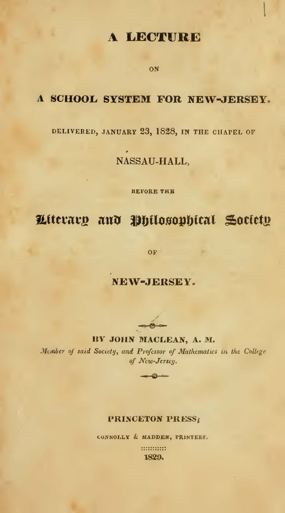 Maclean, John, Jr., A Lecture on a School System for New-Jersey Title Page.jpg