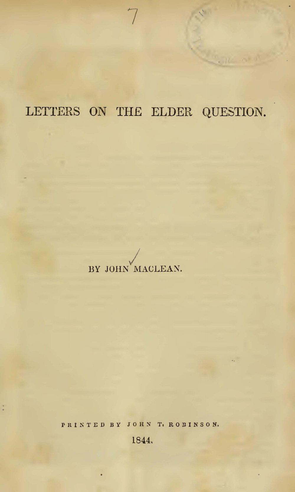 Maclean, John, Jr., Letters on the Elder Question Title Page.jpg