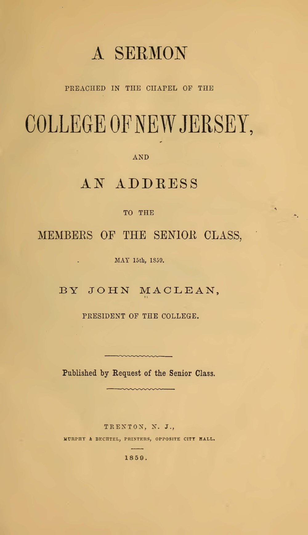 Maclean, John, Jr., A Sermon Preached in the Chapel of the College of New Jersey Title Page.jpg
