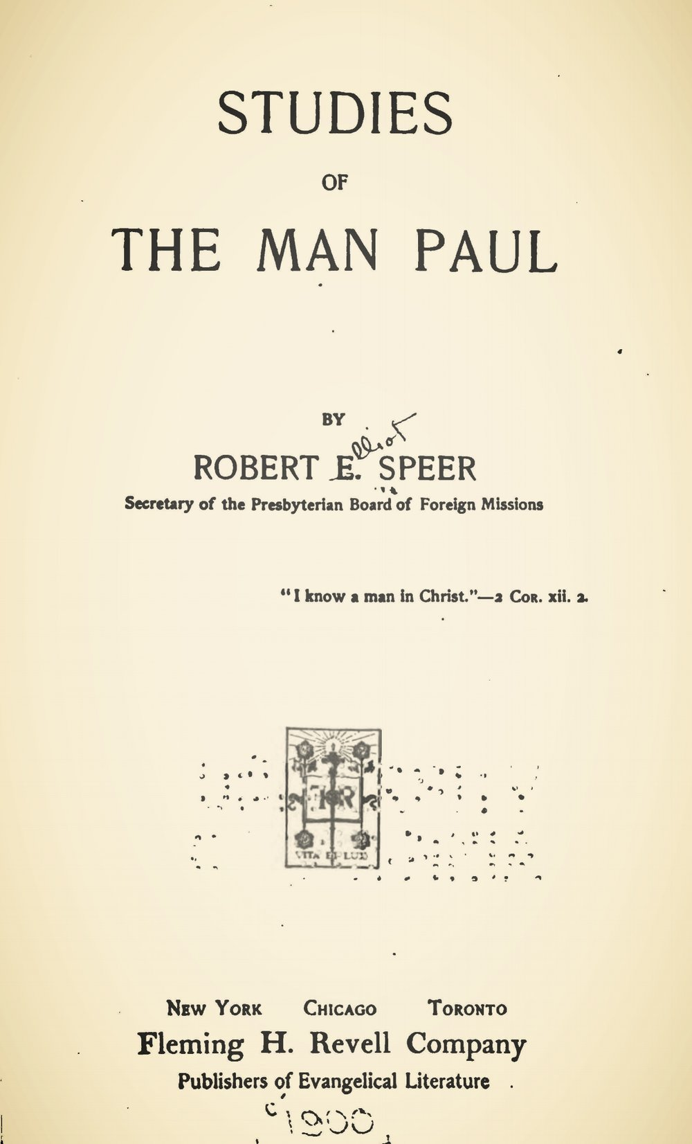 Speer, Robert Elliott, Studies of the Man Paul Title Page.jpg