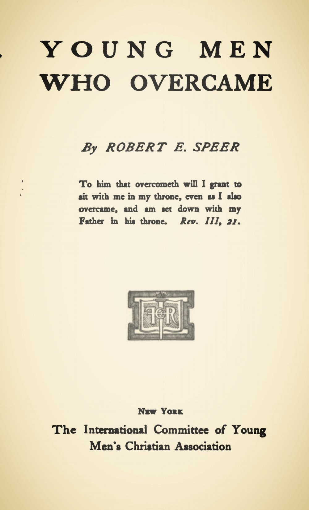 Speer, Robert Elliott, Young Men Who Overcame Title Page.jpg