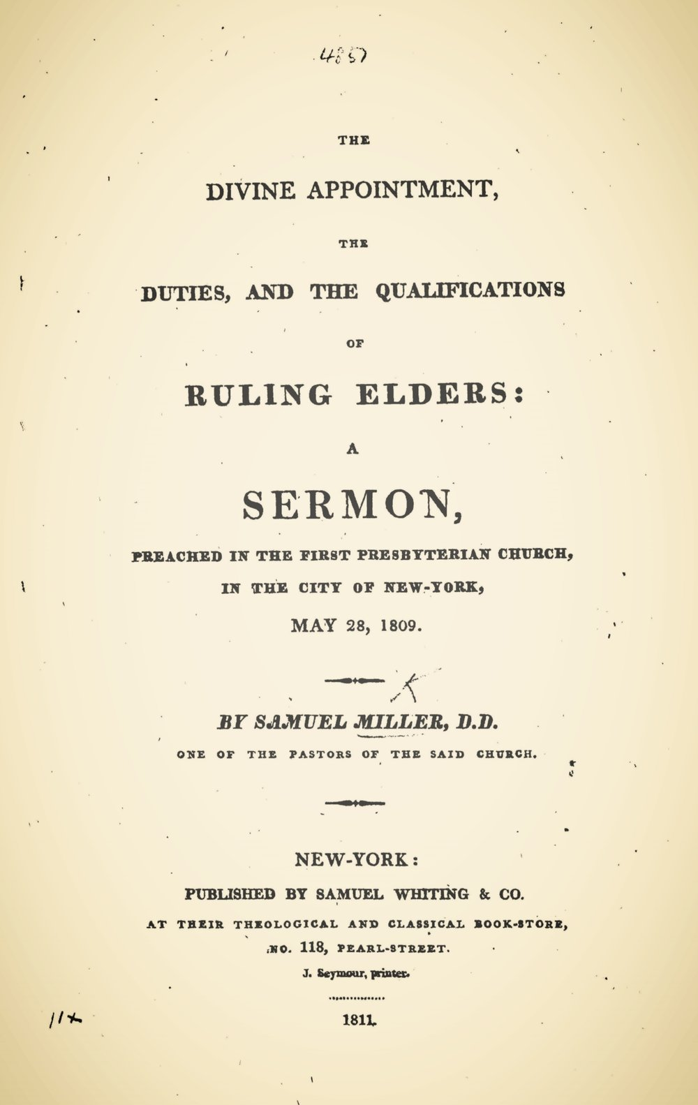 Miller, Samuel, The Divine Appointment, the Duties, and the Qualifications of Ruling Elders Title Page.jpg