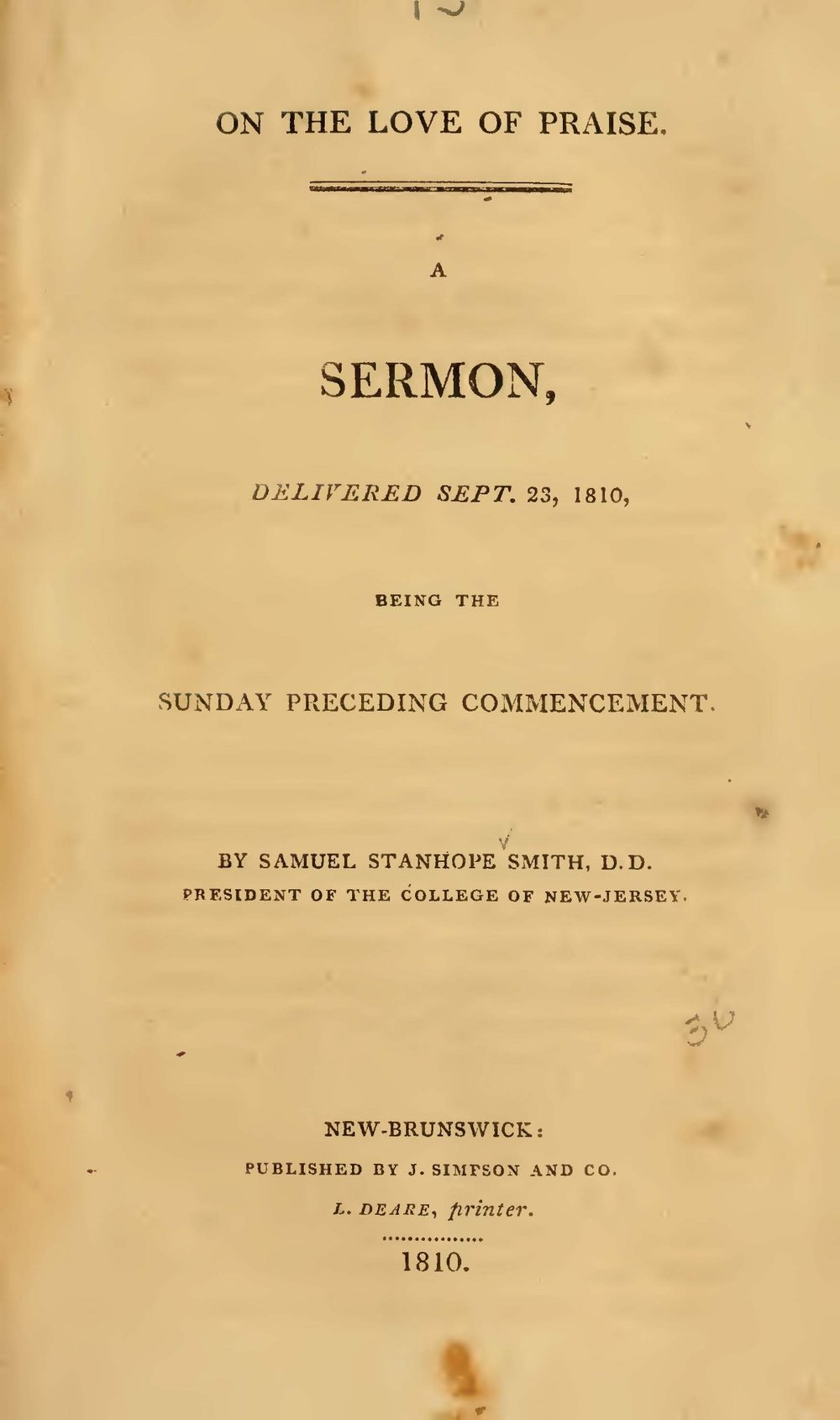 Smith, Samuel Stanhope, On the Love of Praise Title Page.jpg