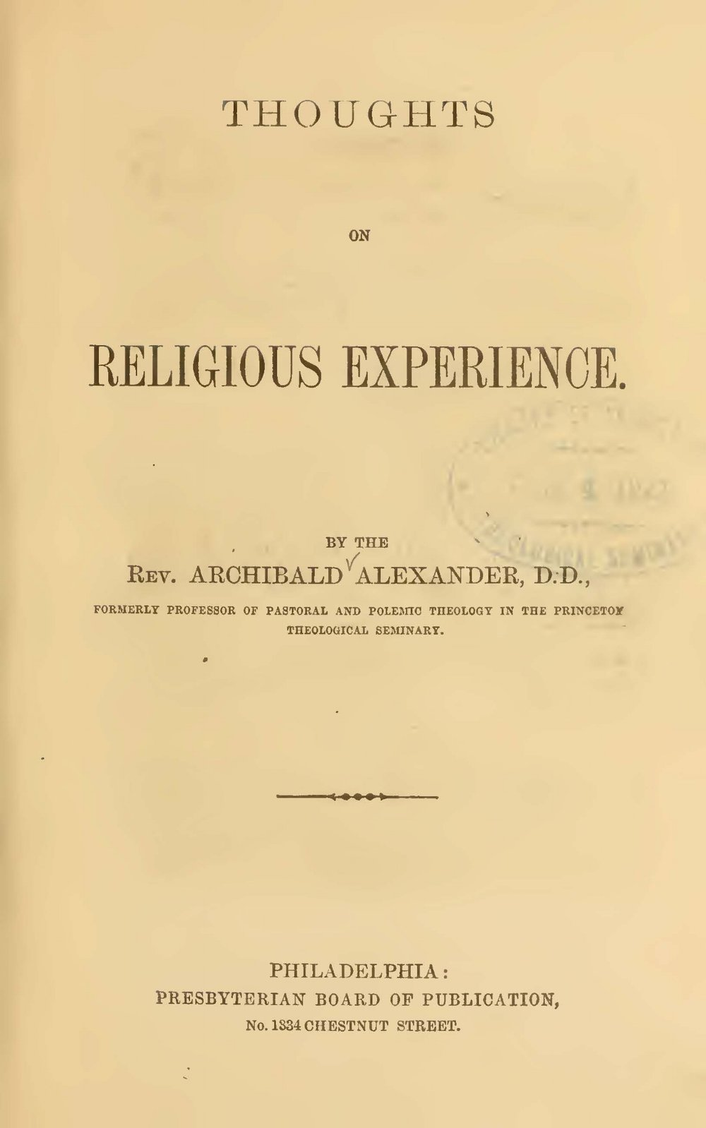 Alexander, Archibald, Thoughts on Religious Experience Title Page.jpg