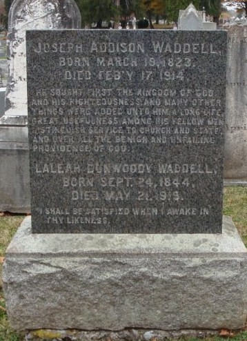 Joseph Addison Waddell is buried at Thornrose Cemetery, Staunton, Virginia.