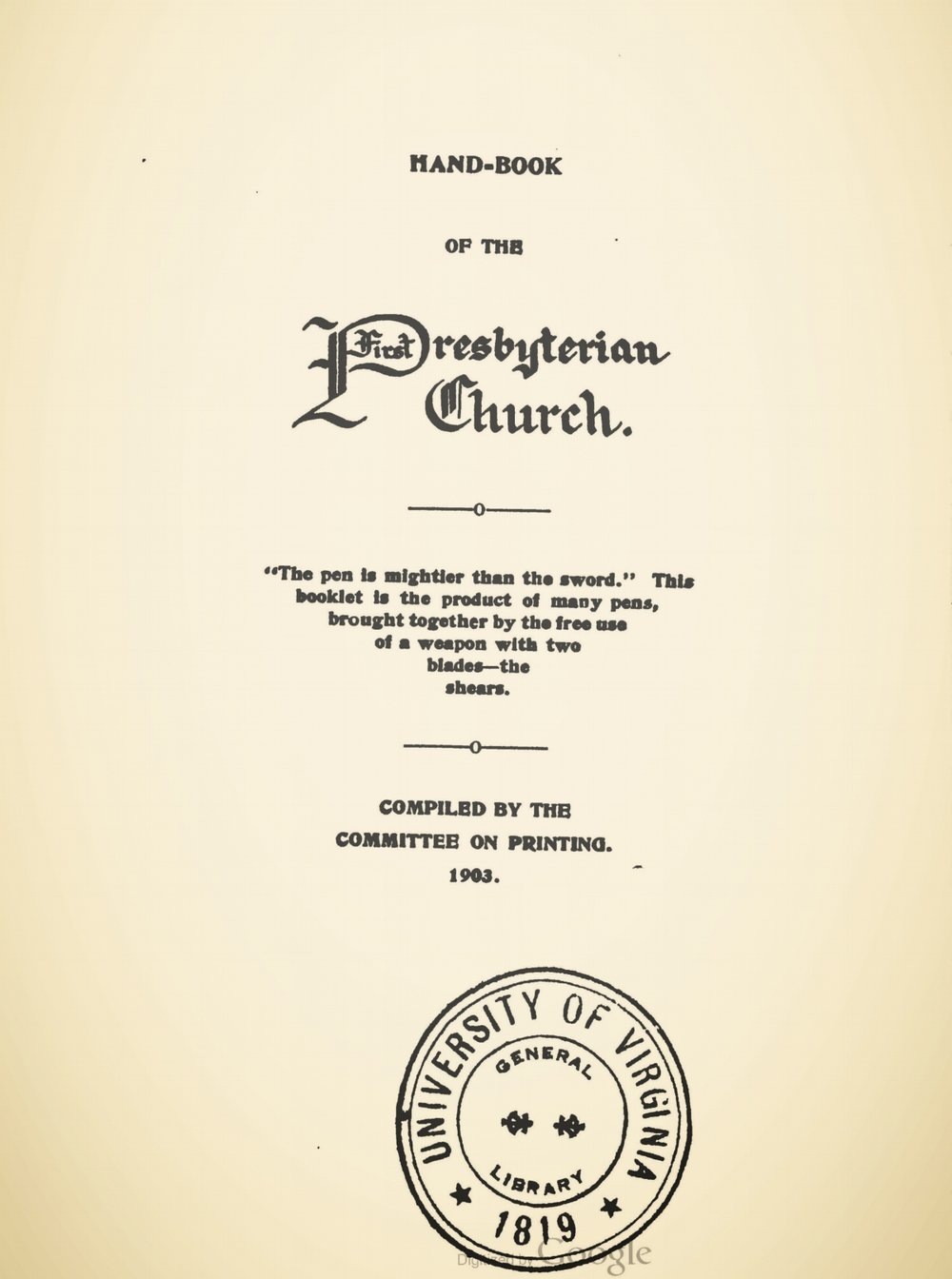 Waddell, Joseph Addison, Hand-book of the First Presbyterian Church, Staunton, VA Title Page.jpg