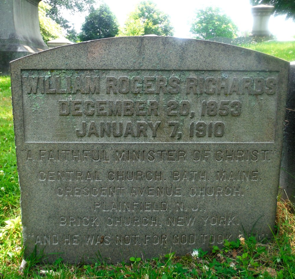 William Rogers Richards is buried at Mountain Grove Cemetery and Mausoleum, Bridgeport, Connecticut.