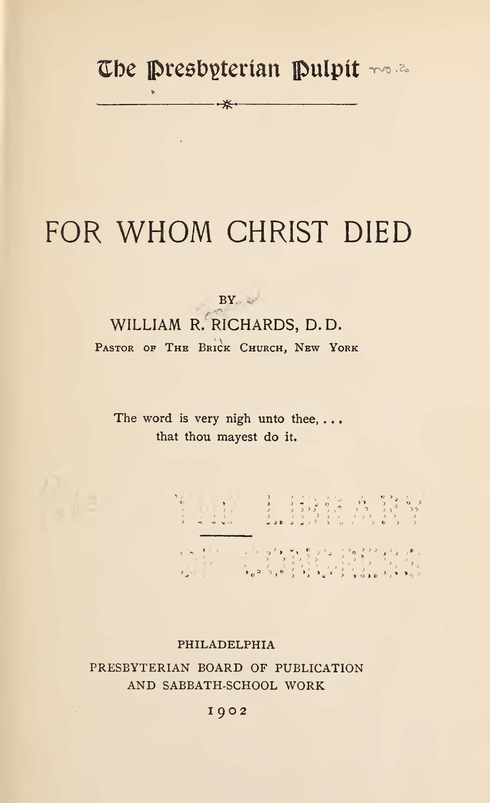 Richards, William Rogers, For Whom Christ Died Title Page.jpg