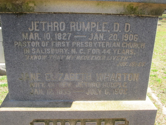 Jethro Rumple is buried at Chestnut Hill Cemetery, Salisbury, North Carolina.