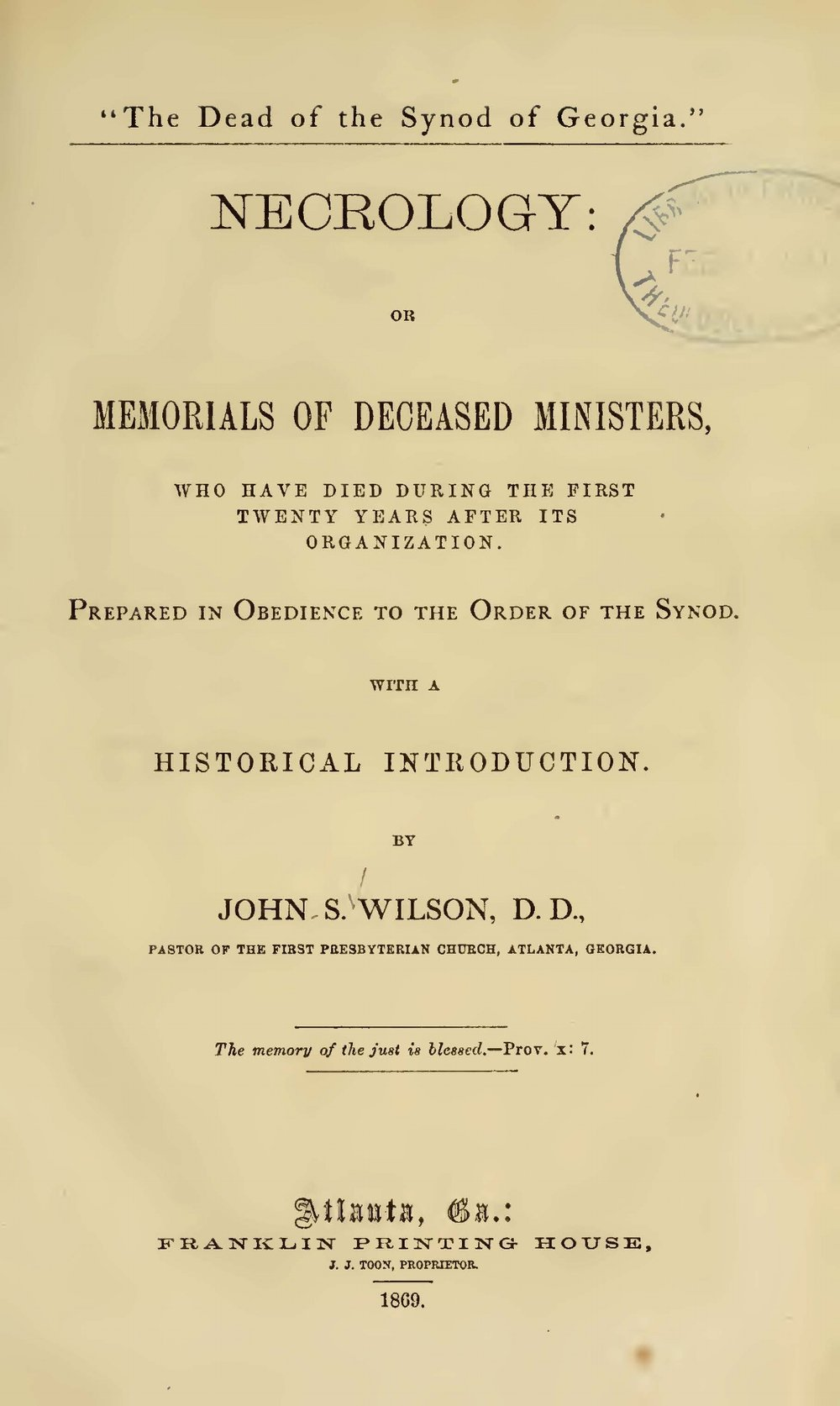 Wilson, John Simpson, The Dead of the Synod of Georgia Title Page.jpg