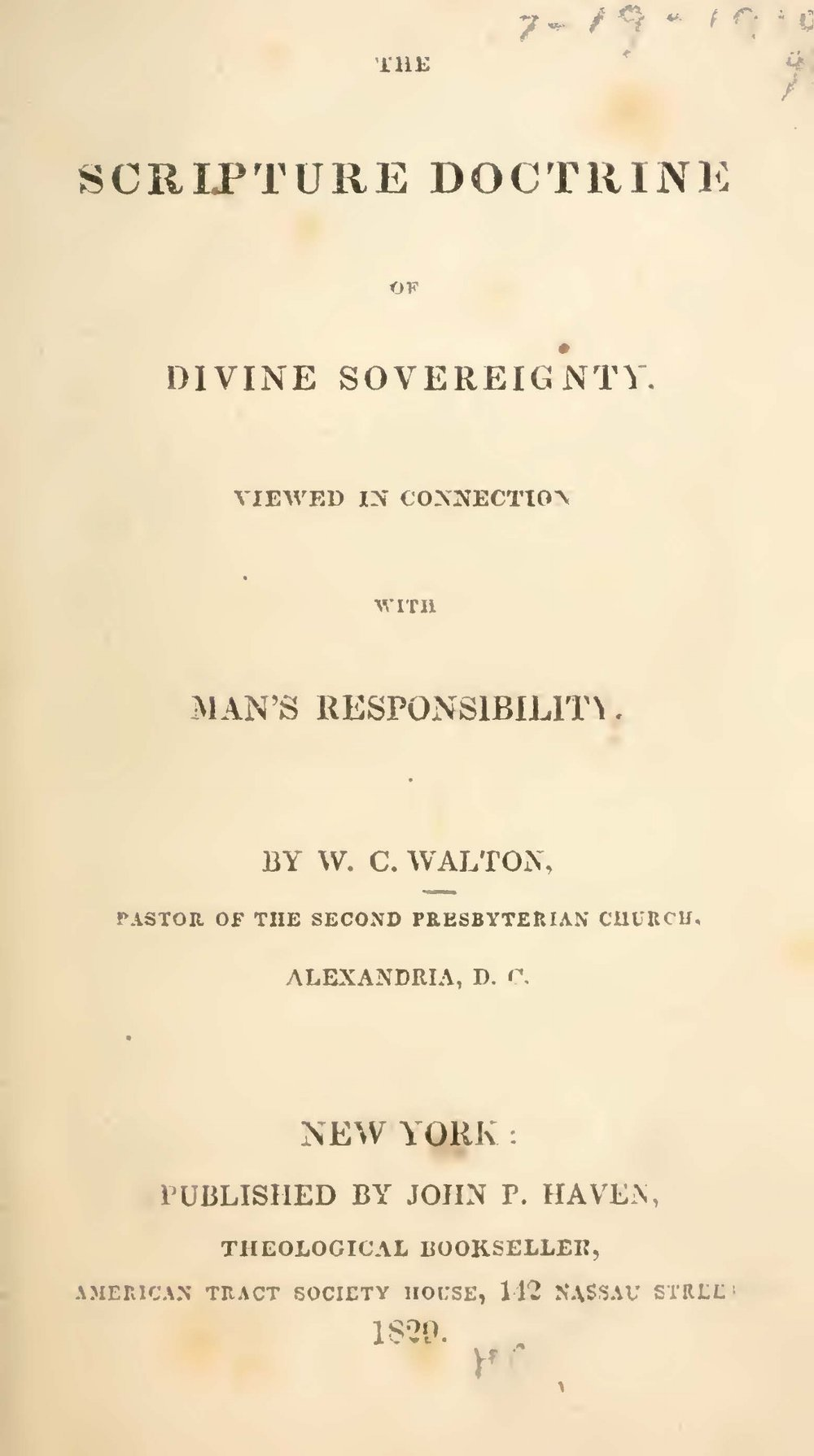 Walton, William Claiborne, The Scripture Doctrine of Divine Sovereignty Title Page.jpg