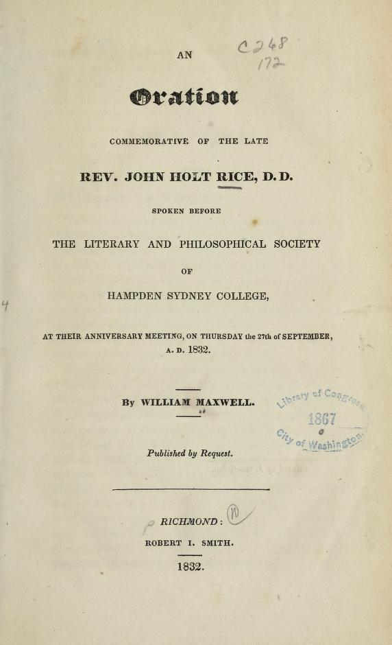 Maxwell, Oration on John Holt Rice.jpg