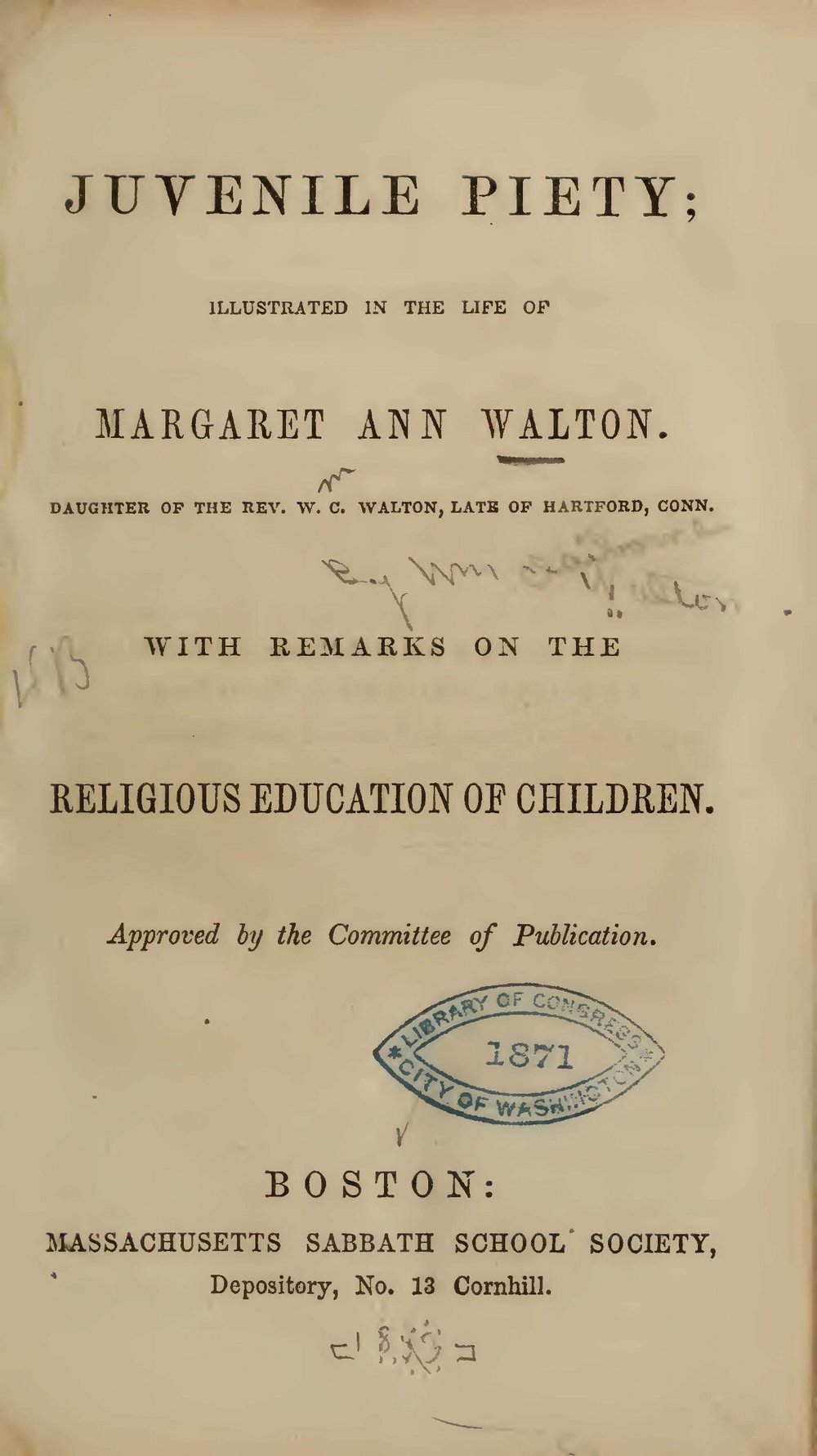 Walton, William Claiborne, Juvenile Piety Title Page.jpg
