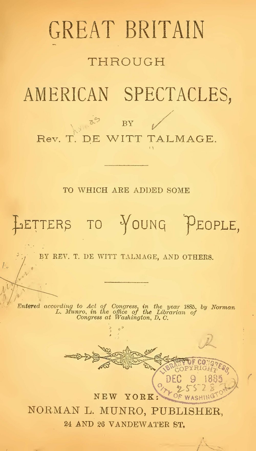 Talmage, Thomas De Witt, Great Britain Through American Spectacles Title Page.jpg
