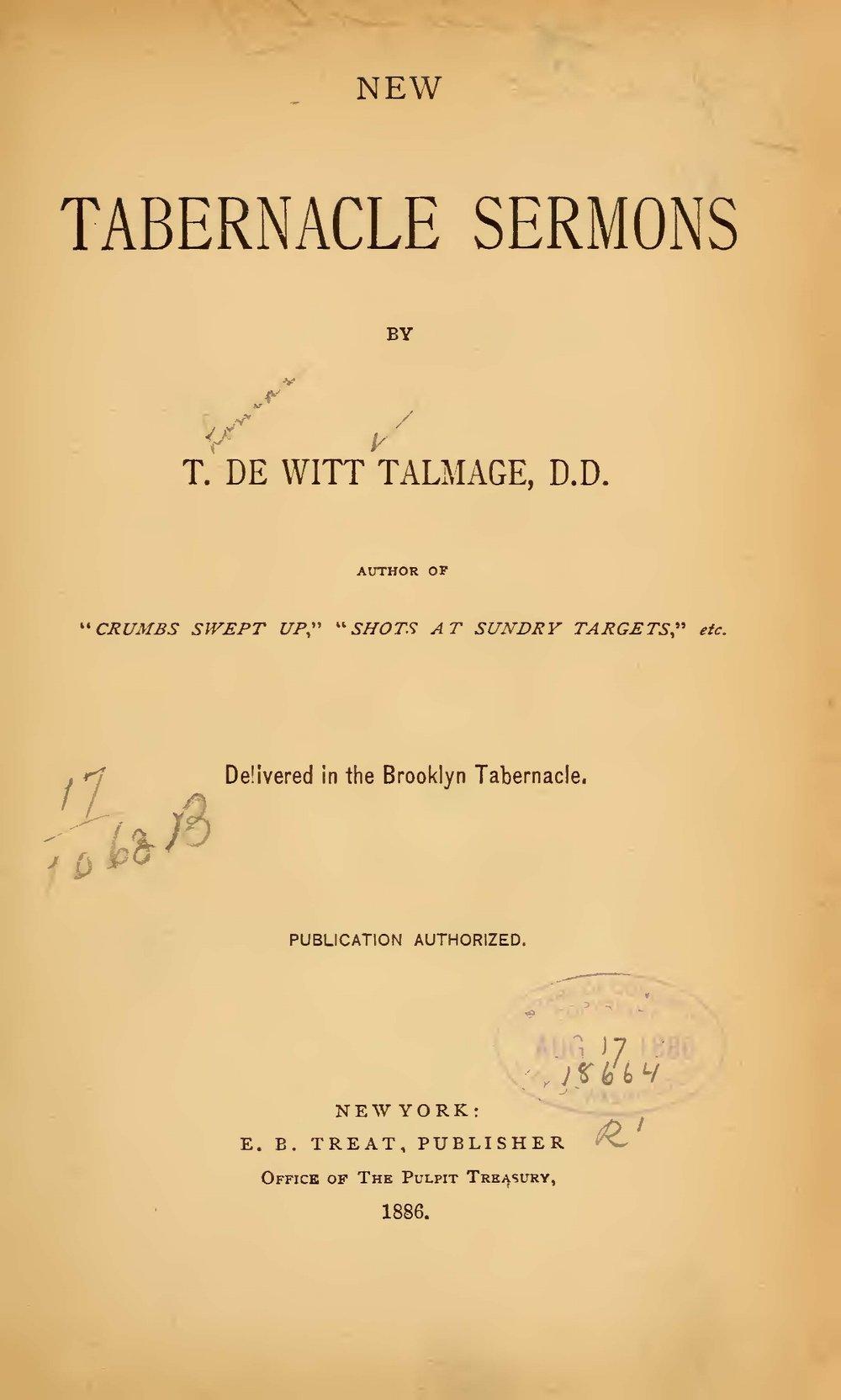 Talmage, Thomas De Witt, New Tabernacle Sermons Title Page.jpg
