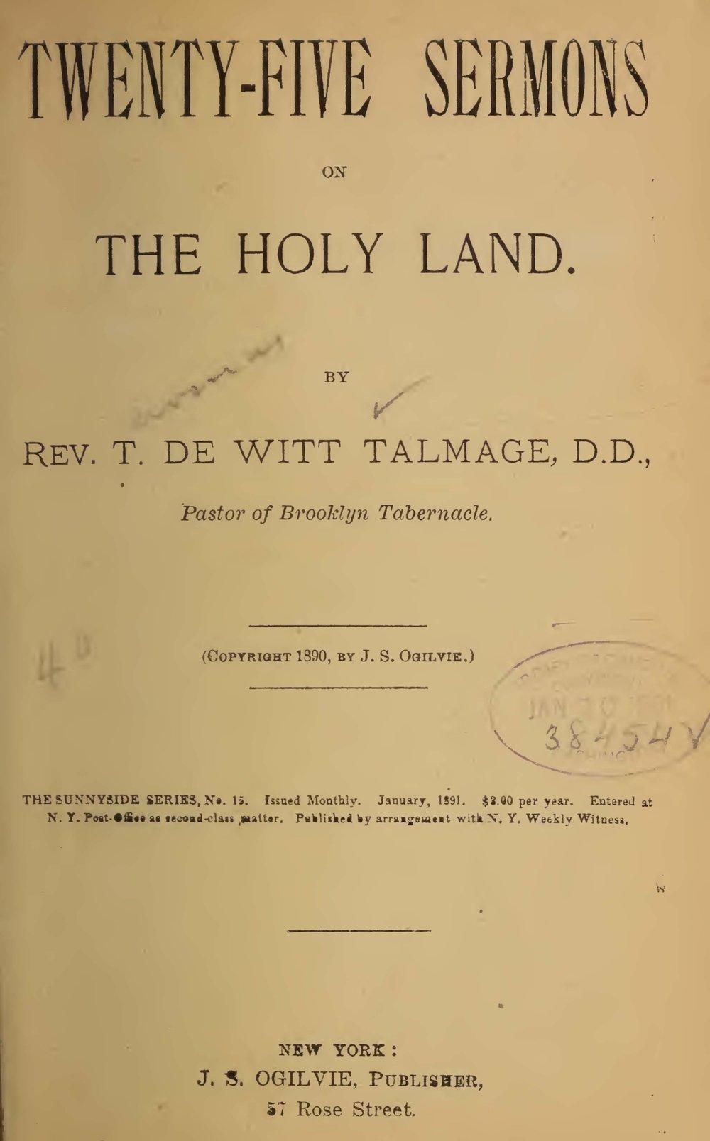 Talmage, Thomas De Witt, Twenty-Five Sermons on the Holy Land Title Page.jpg