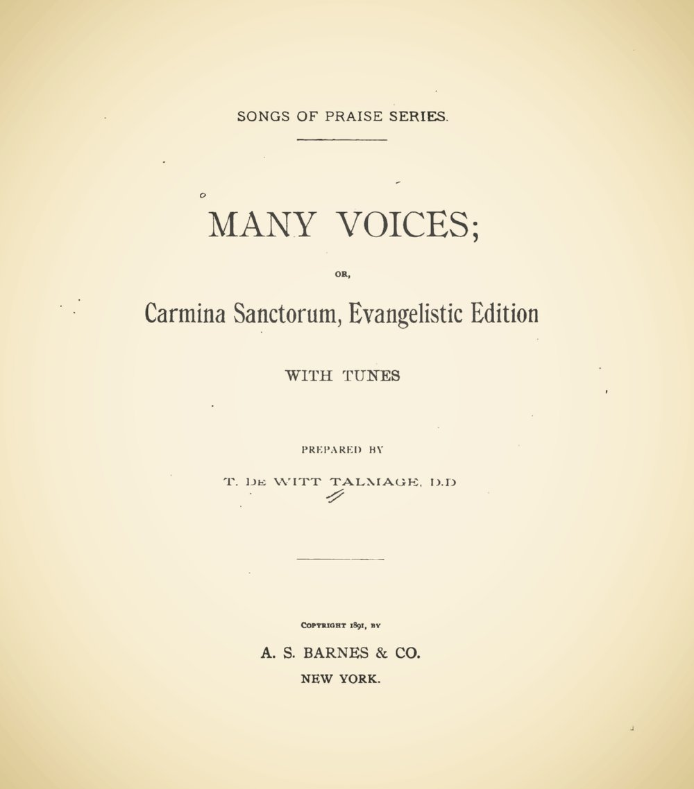 Talmage, Thomas De Witt, Many Voices Title Page.jpg