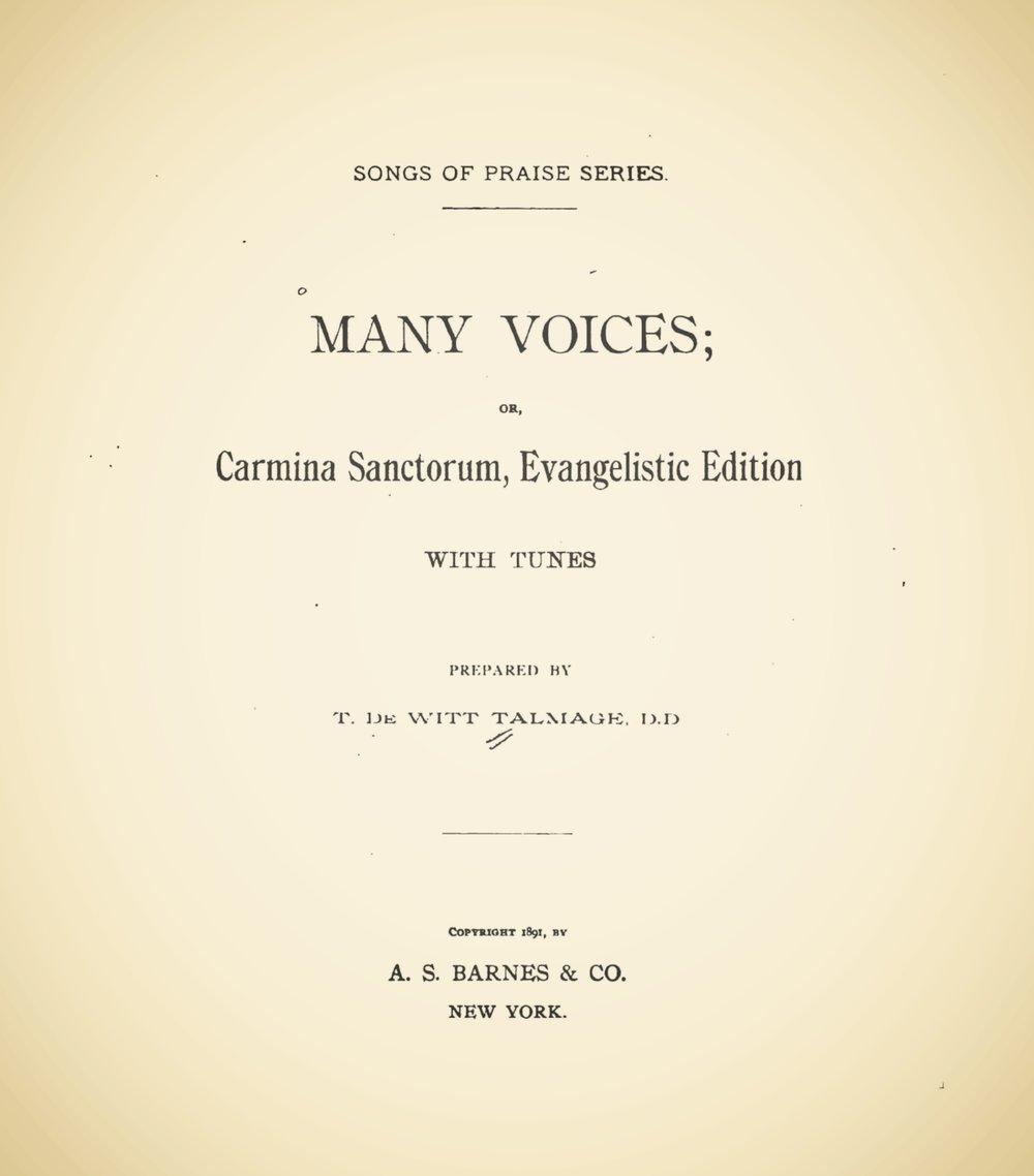 Talmage, Thomas De Witt, Many Voices Title Page.jpg
