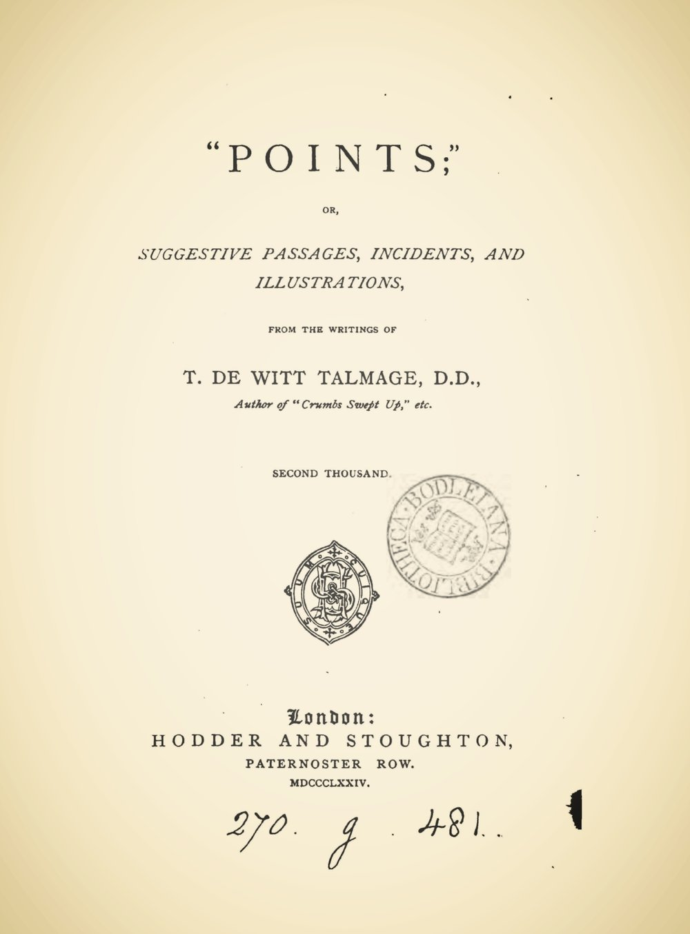 Talmage, Thomas De Witt, Points; or, Suggestive Passages, Incidents, and Illustrations Title Page.jpg