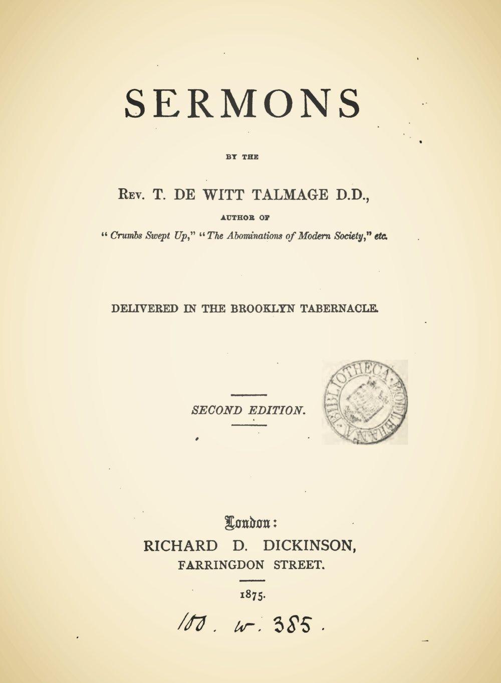 Talmage, Thomas De Witt, Sermons Title Page.jpg