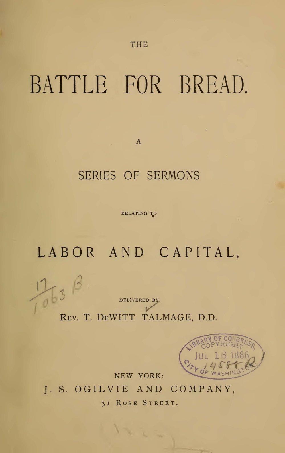 Talmage, Thomas De Witt, The Battle for Bread Title Page.jpg