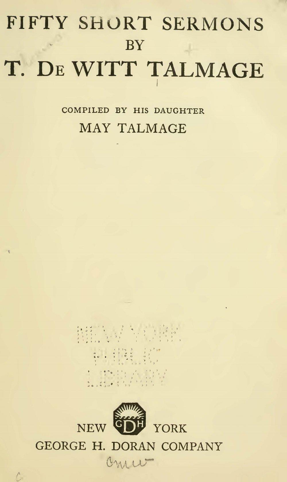 Talmage, Thomas De Witt, Fifty Short Sermons Title Page.jpg