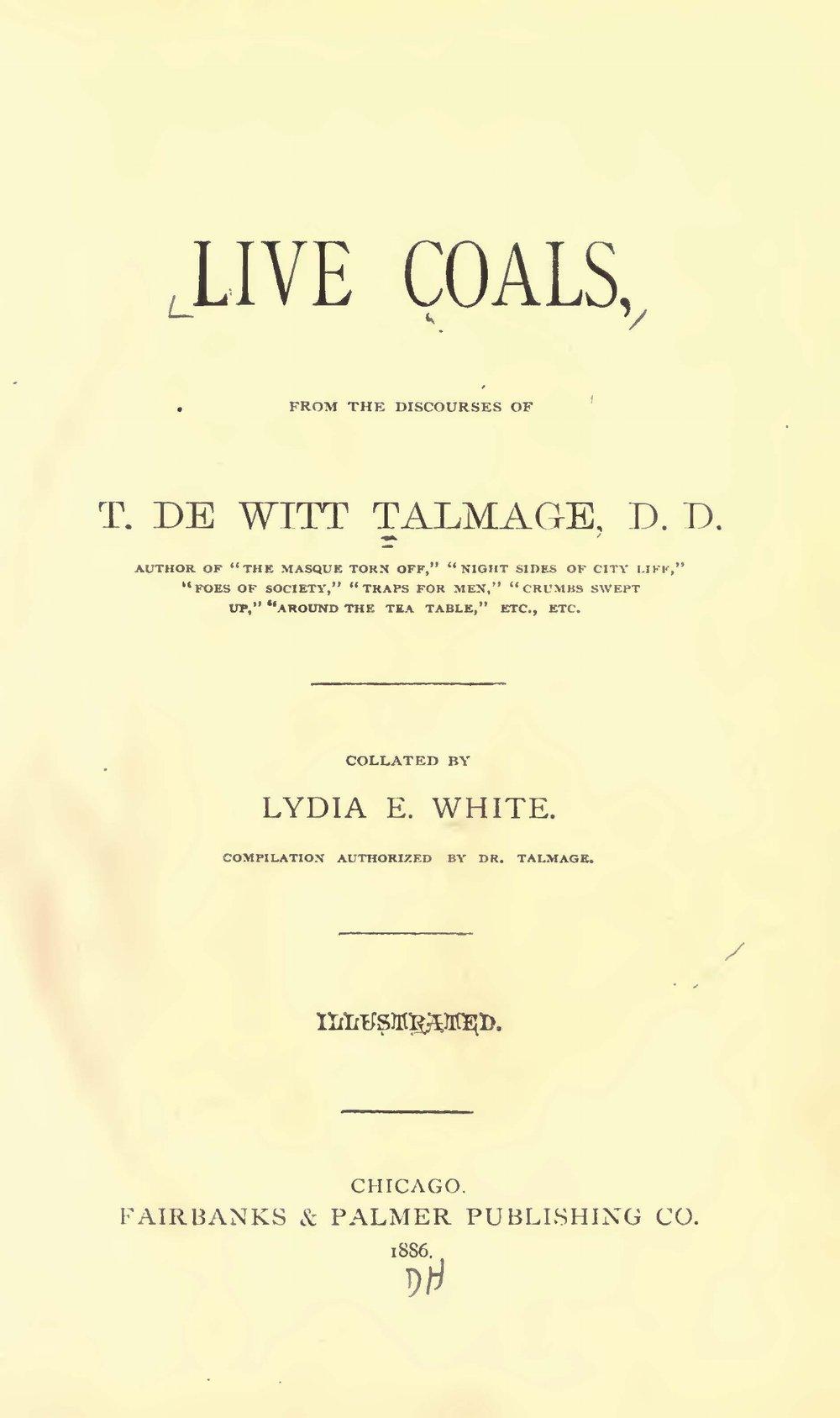 Talmage, Thomas De Witt, Live Coals Title Page.jpg