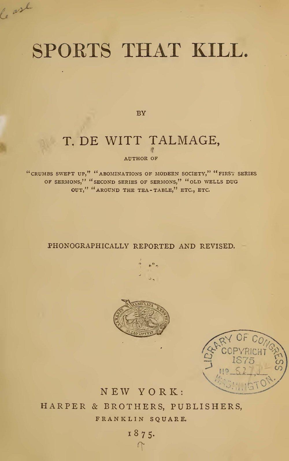 Talmage, Thomas De Witt, Sports That Kill Title Page.jpg