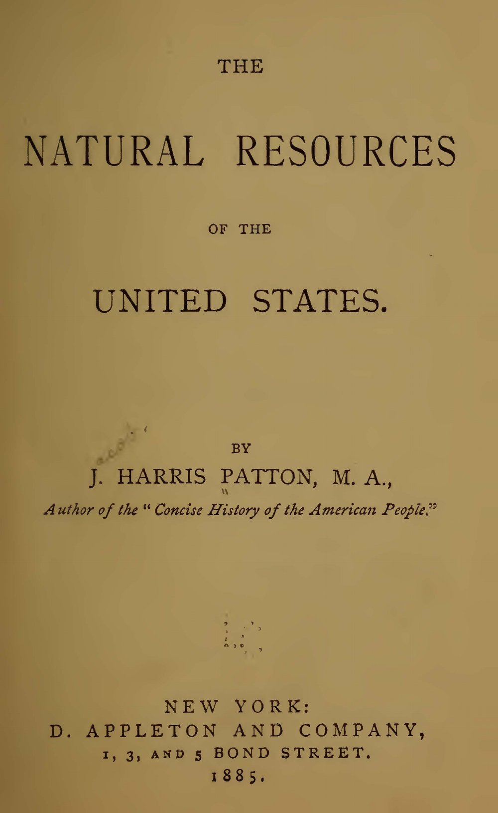 Patton, Jacob Harris, The Natural Resources of the United States Title Page.jpg