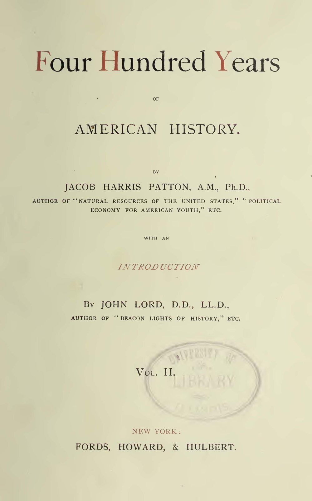 Patton, Jacob Harris, Four Hundred Years of American History, Vol. 2 Title Page.jpg
