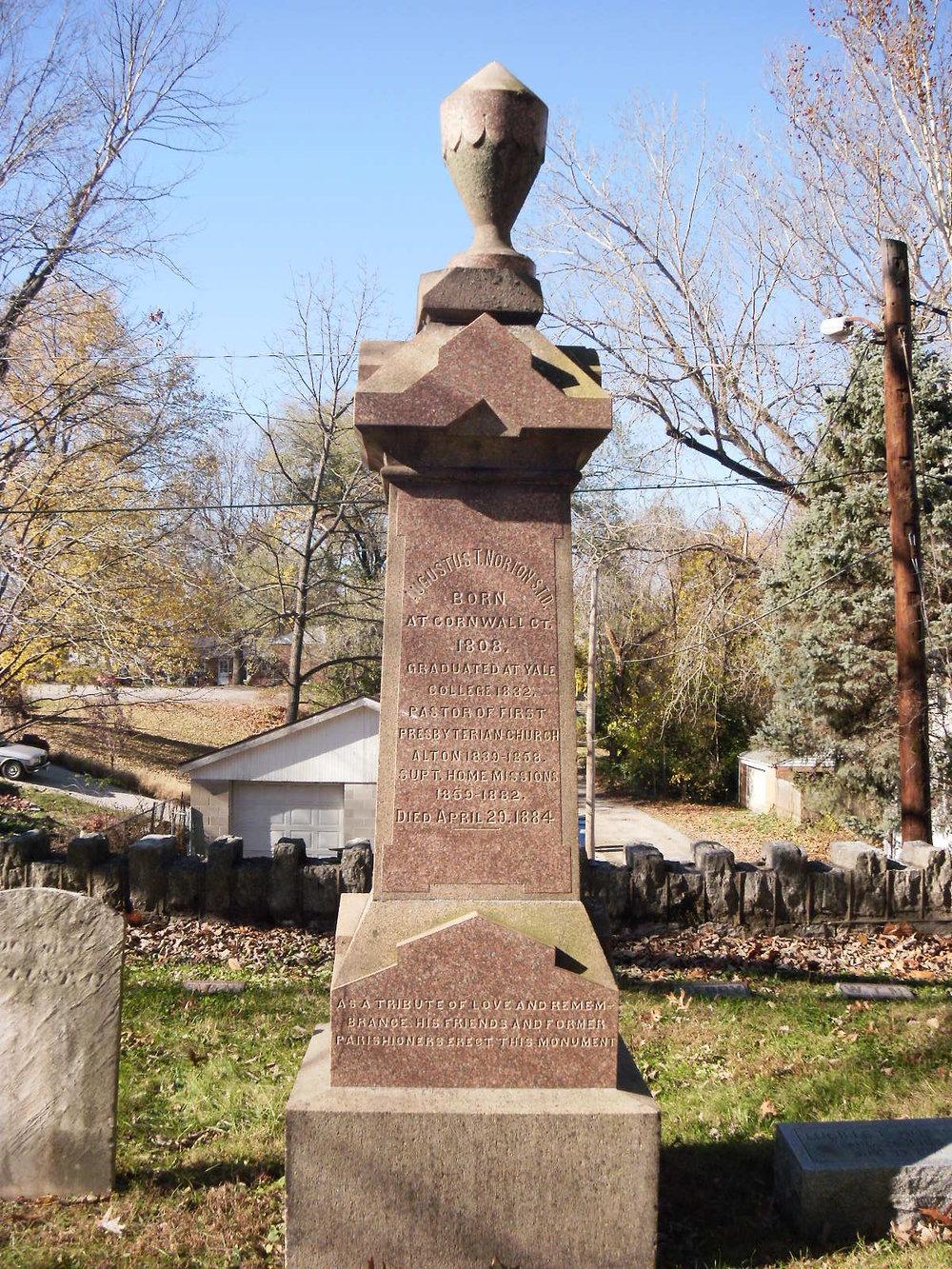 Augustus Theodore Norton is buried at Alton Cemetery, Alton, Illinois.