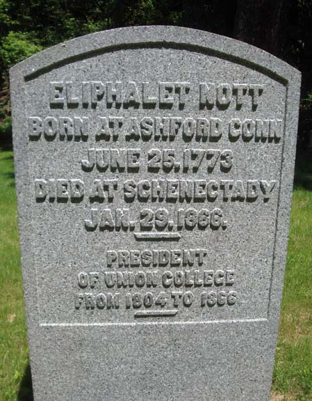 Eliphalet Nott is buried at Vale Cemetery, Schenectady, New York.