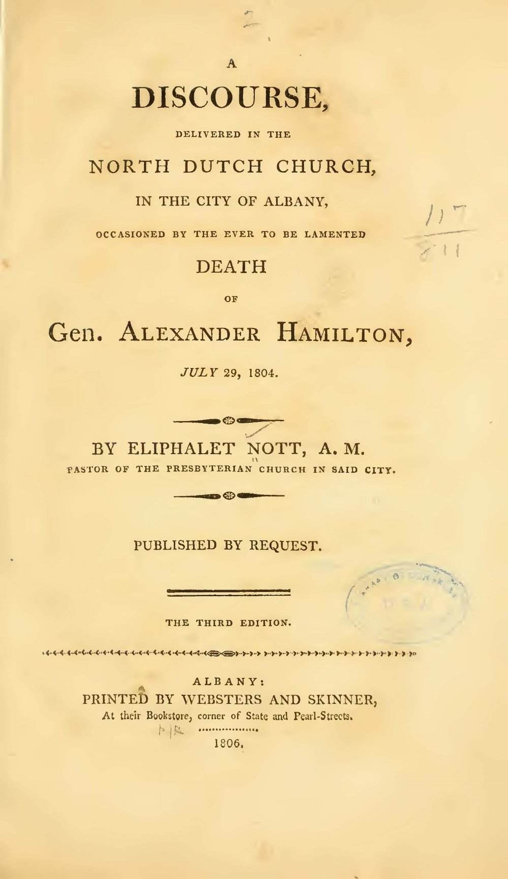 Nott, Eliphalet, A Discourse Occasioned by the Death of General Alexander Hamilton Title Page.jpg