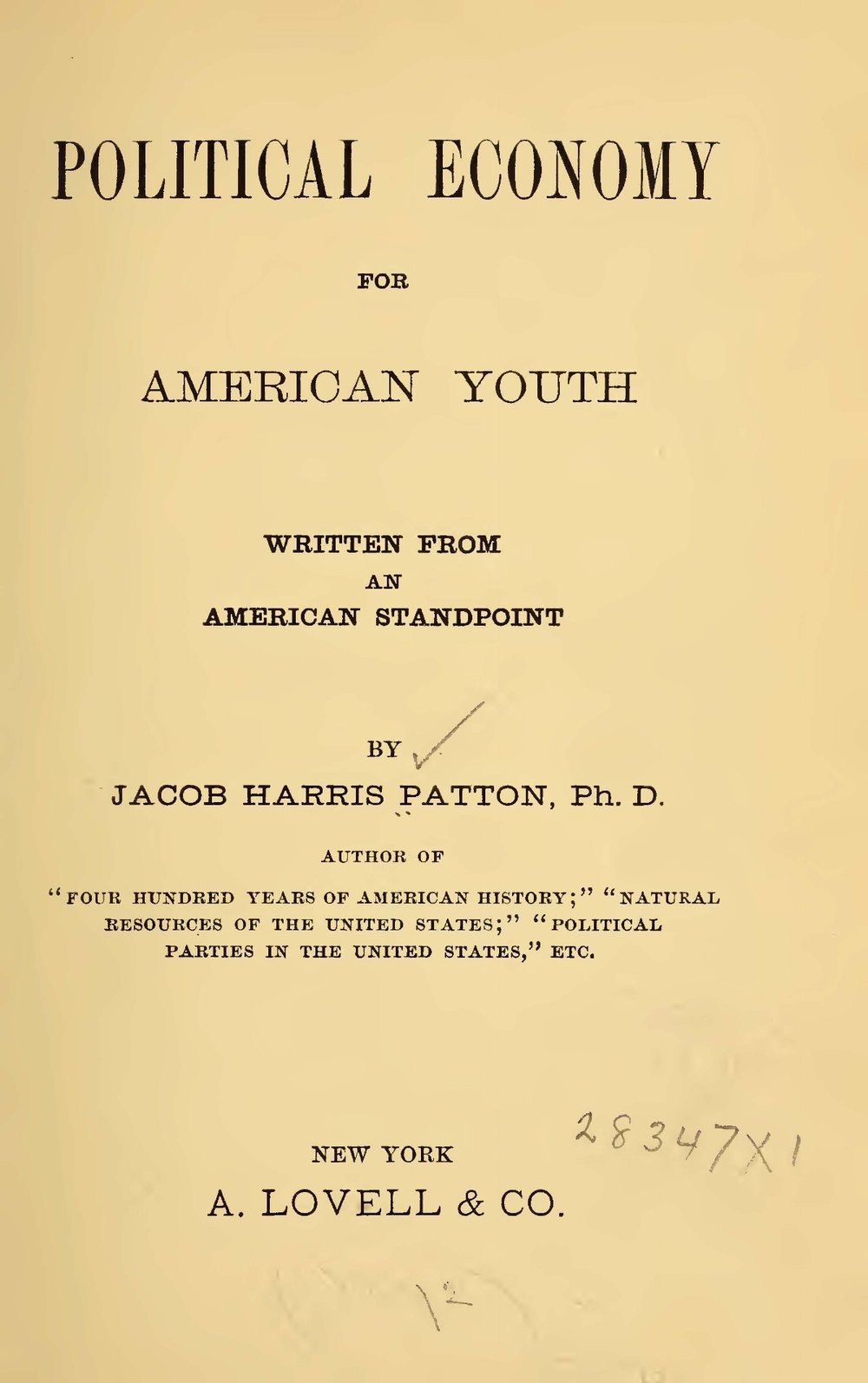 Patton, Jacob Harris, Political Economy for American Youth Title Page.jpg